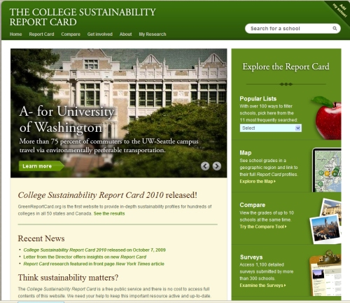 College Sustainability Report Card's home page