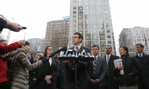 Washington Attorney General Bob Ferguson talks to reporters in Seattle on Friday 3 February 2017, following a hearing on President Donald Trump's executive order on immigration. Photograph: Ted S. Warren/AP